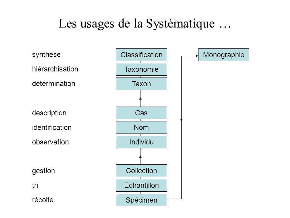 Cas Taxon Taxonomie Classification Les usages de la Systématique … Spécimen Echantillon identification hiérarchisation tri Collection Individu récolte
