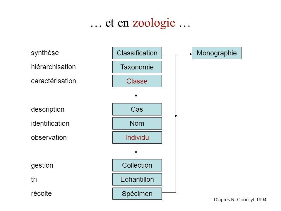 Cas Classe Taxonomie Classification … et en zoologie … Spécimen Echantillon identification hiérarchisation tri Collection Individu récolte synthèse gestion description caractérisation Nom observation D'après N.