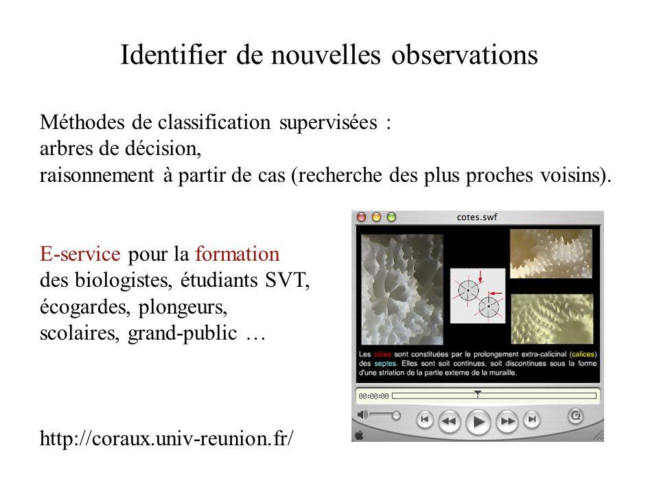 Identifier de nouvelles observations Méthodes de classification supervisées : arbres de décision, raisonnement à partir de cas (recherche des plus proches voisins).