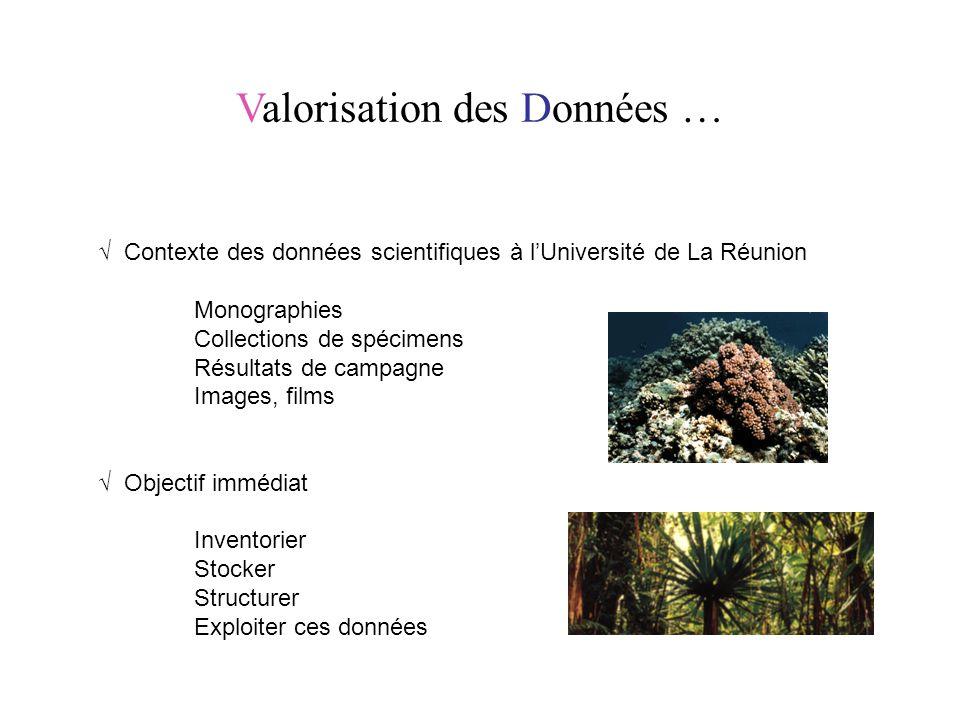 Valorisation des Données … √ Contexte des données scientifiques à l'Université de La Réunion Monographies Collections de spécimens Résultats de campag