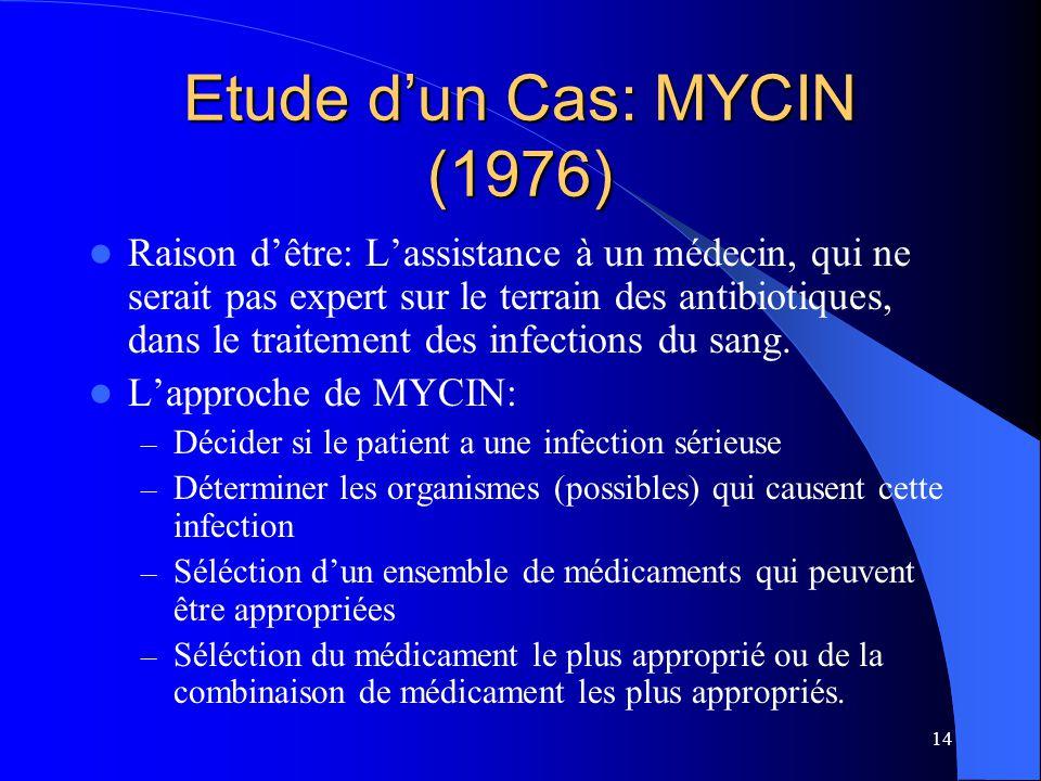 15 Example d'une règle de production en MYCIN Si 1) (1) La tache de l'organisme est Gram négative, et 2) (2) La morphologie de l'organisme est baton, et 3) (3) L'aérobicité de l'organisme est: aérobique 4) Alors: 5) Il y a évidence très suggestive (0.8) que la classe 6) de l'organisme est: Entérobactériacéae