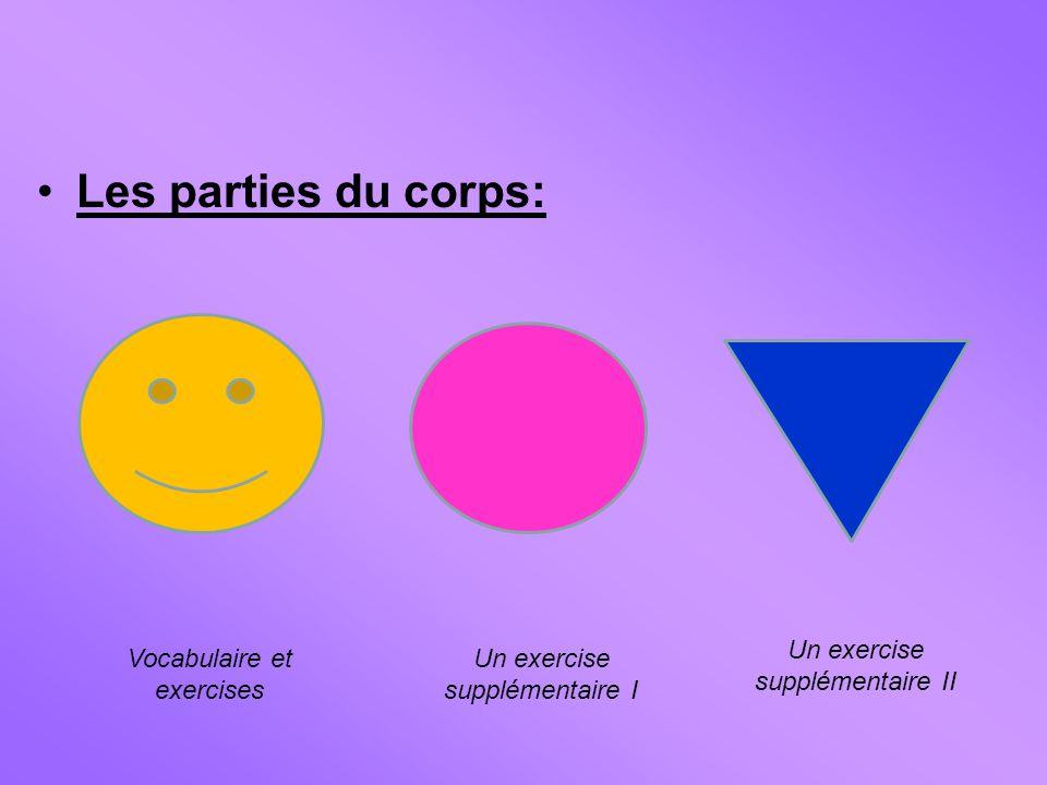 Les parties du corps: Vocabulaire et exercises Un exercise supplémentaire I Un exercise supplémentaire II