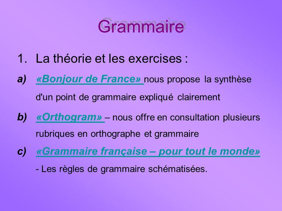 Grammaire 1.La théorie et les exercises : a)«Bonjour de France» nous propose la synthèse d'un point de grammaire expliqué clairement«Bonjour de France