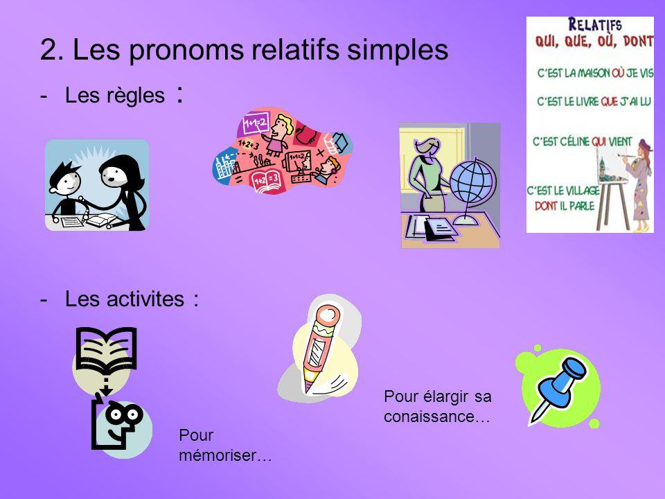 2. Les pronoms relatifs simples -Les règles : -Les activites : Pour mémoriser… Pour élargir sa conaissance…