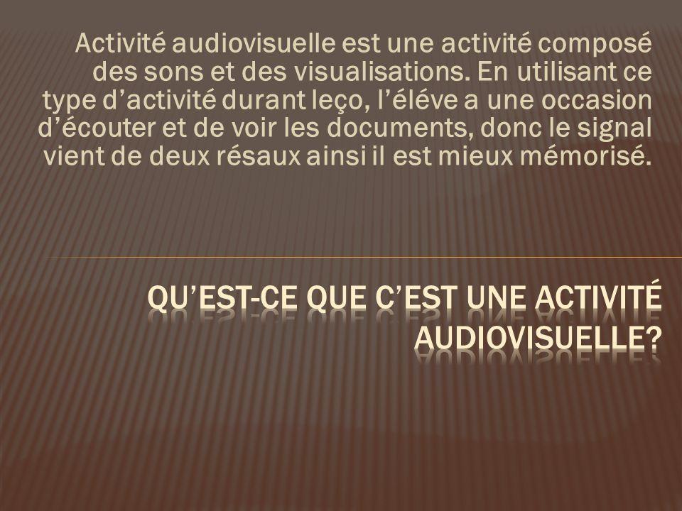 Activité audiovisuelle est une activité composé des sons et des visualisations.