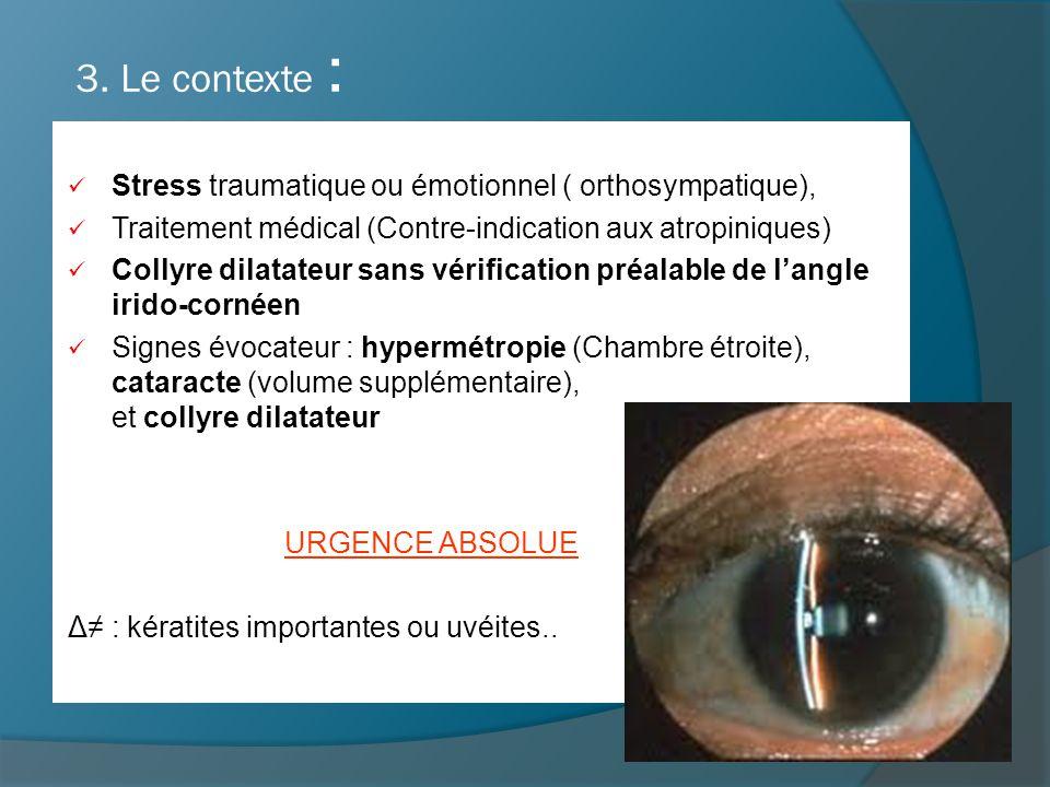 3. Le contexte : Stress traumatique ou émotionnel ( orthosympatique), Traitement médical (Contre-indication aux atropiniques) Collyre dilatateur sans