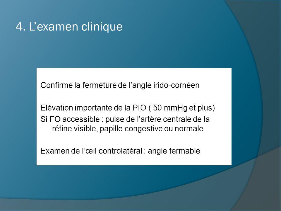 4. L'examen clinique Confirme la fermeture de l'angle irido-cornéen Elévation importante de la PIO ( 50 mmHg et plus) Si FO accessible : pulse de l'ar
