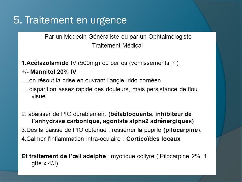 5. Traitement en urgence Par un Médecin Généraliste ou par un Ophtalmologiste Traitement Médical 1.Acétazolamide IV (500mg) ou per os (vomissements ?