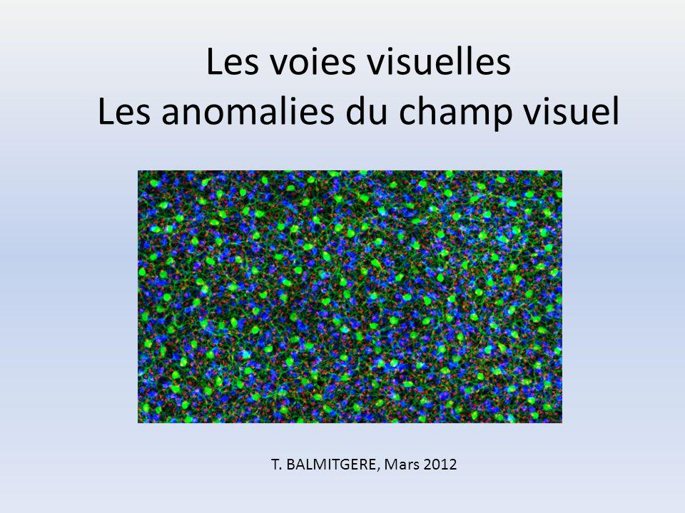 Les voies visuelles Les anomalies du champ visuel T.BALMITGERE T. BALMITGERE, Mars 2012