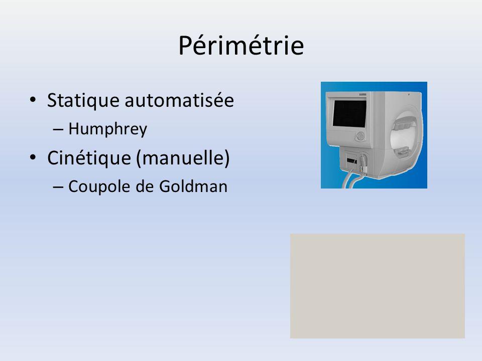 Périmétrie Statique automatisée – Humphrey Cinétique (manuelle) – Coupole de Goldman