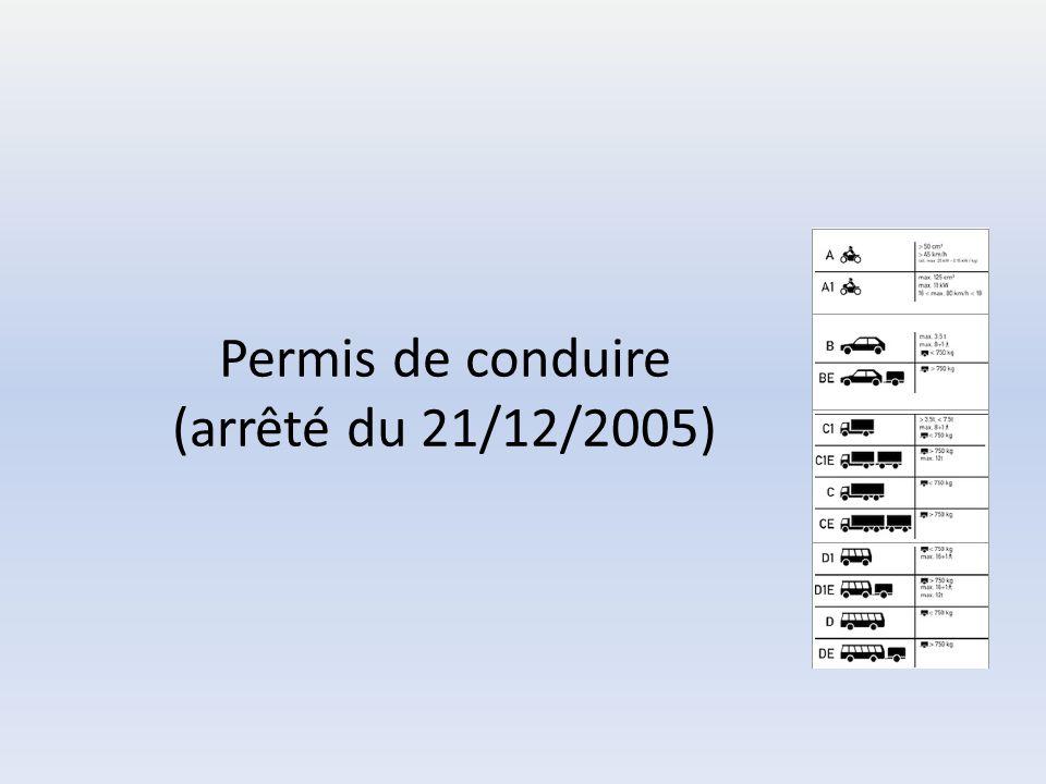 Permis de conduire (arrêté du 21/12/2005)