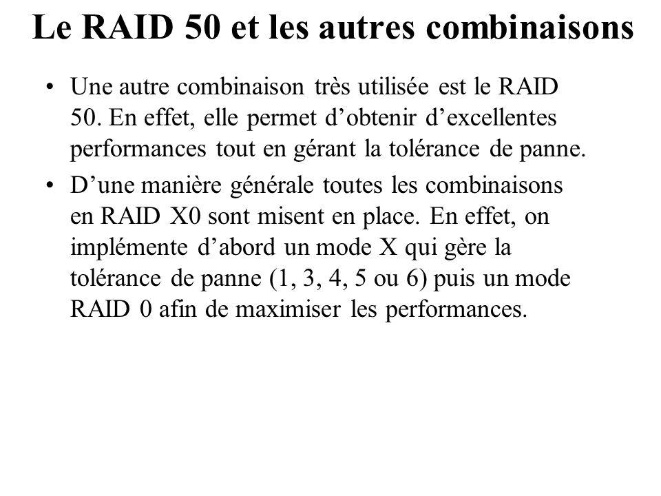 Le RAID 50 et les autres combinaisons Une autre combinaison très utilisée est le RAID 50. En effet, elle permet d'obtenir d'excellentes performances t