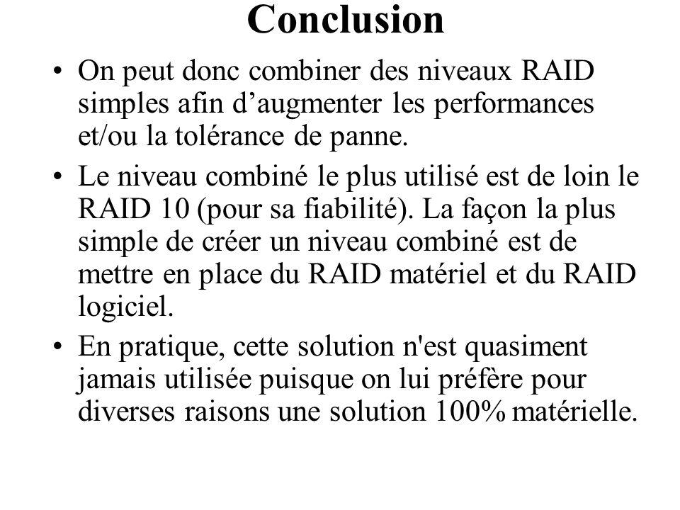 Conclusion On peut donc combiner des niveaux RAID simples afin d'augmenter les performances et/ou la tolérance de panne. Le niveau combiné le plus uti