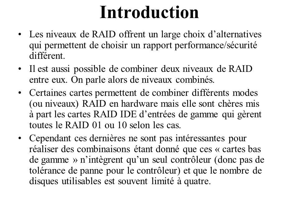 Généralement la manière la moins onéreuse pour réaliser une combinaison entre deux modes RAID est : 1) d'utiliser plusieurs contrôleurs au niveau matériel pour mettre en place plusieurs ensemble en mode RAID X.