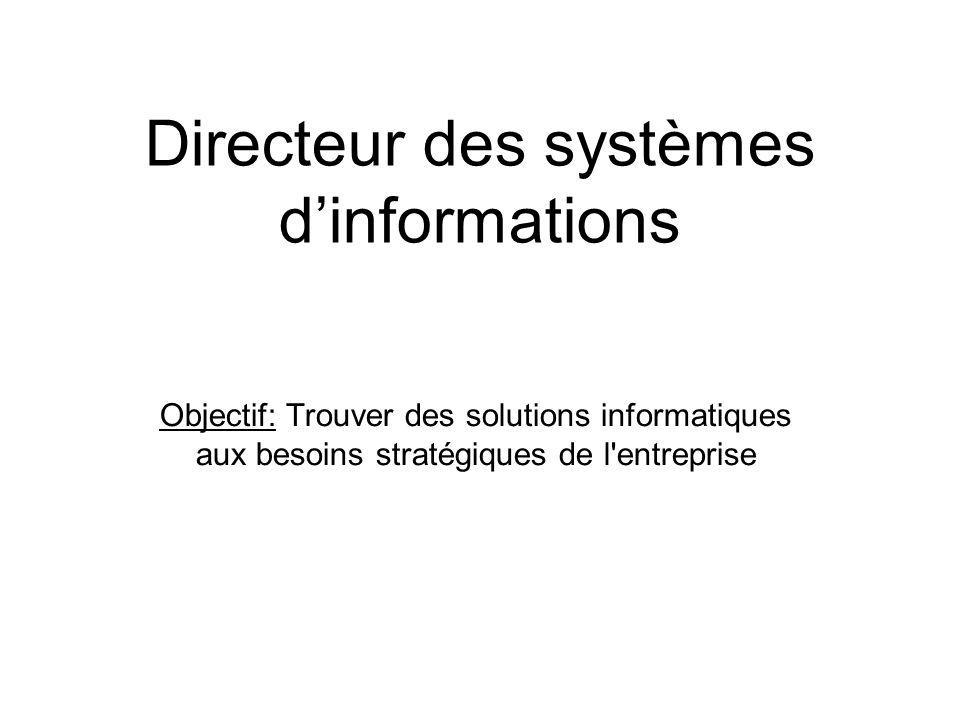 Directeur des systèmes d'informations Objectif: Trouver des solutions informatiques aux besoins stratégiques de l'entreprise