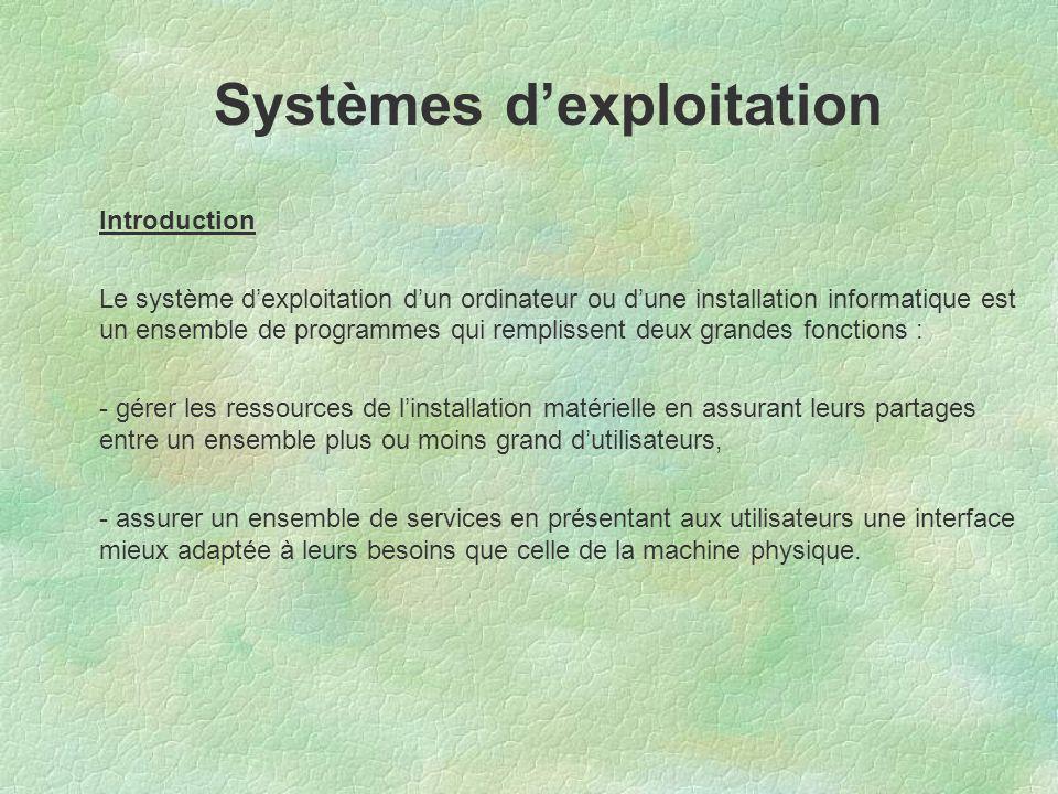 Introduction Le système d'exploitation d'un ordinateur ou d'une installation informatique est un ensemble de programmes qui remplissent deux grandes f