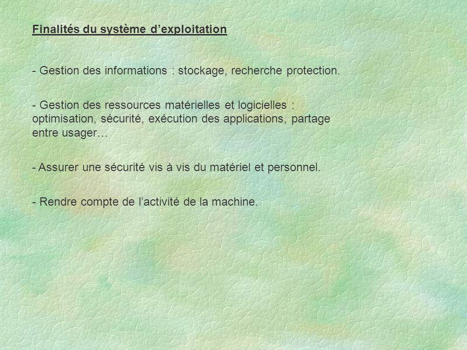 Finalités du système d'exploitation - Gestion des informations : stockage, recherche protection. - Gestion des ressources matérielles et logicielles :