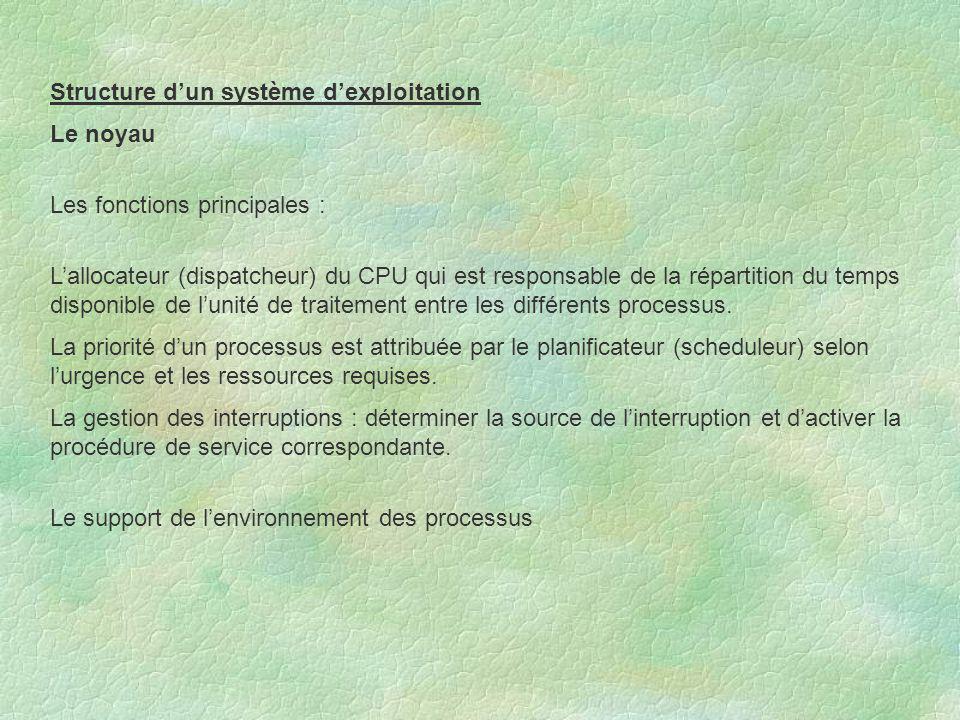 Structure d'un système d'exploitation Le noyau Les fonctions principales : L'allocateur (dispatcheur) du CPU qui est responsable de la répartition du