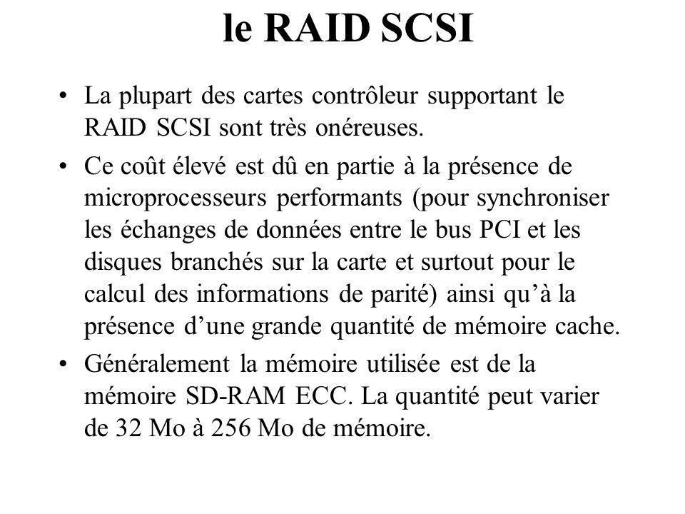 La plupart des cartes contrôleur supportant le RAID SCSI sont très onéreuses. Ce coût élevé est dû en partie à la présence de microprocesseurs perform