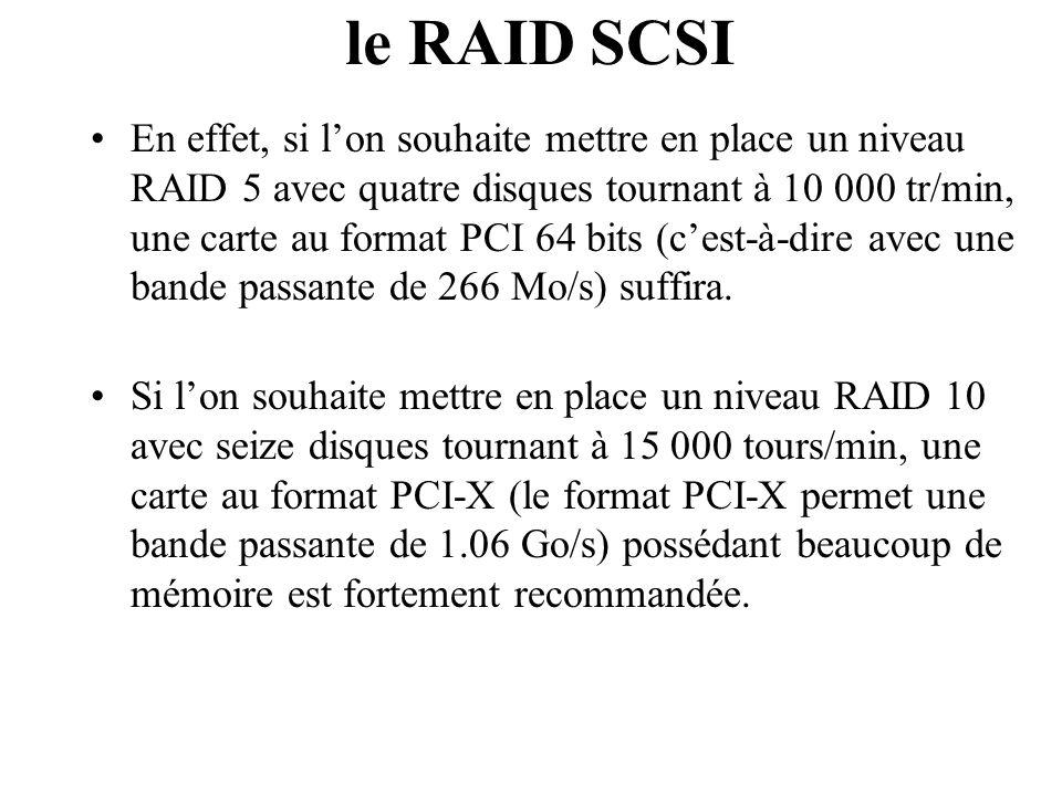 En effet, si l'on souhaite mettre en place un niveau RAID 5 avec quatre disques tournant à 10 000 tr/min, une carte au format PCI 64 bits (c'est-à-dir