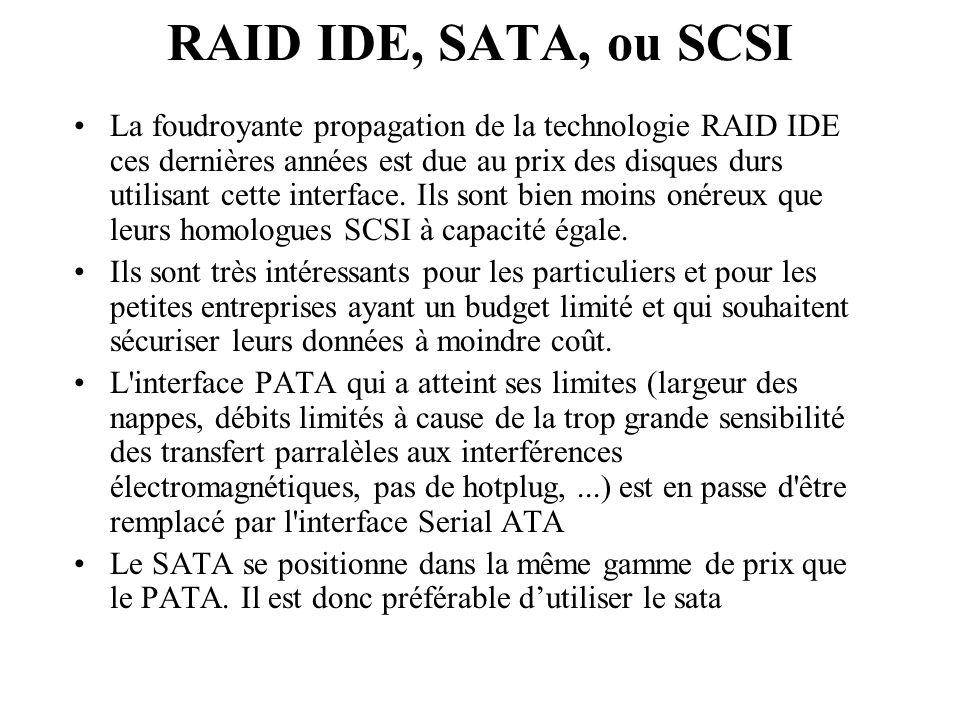RAID IDE, SATA, ou SCSI La foudroyante propagation de la technologie RAID IDE ces dernières années est due au prix des disques durs utilisant cette in