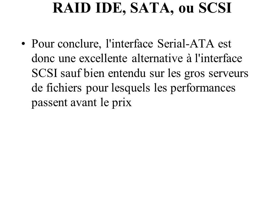 Pour conclure, l'interface Serial-ATA est donc une excellente alternative à l'interface SCSI sauf bien entendu sur les gros serveurs de fichiers pour