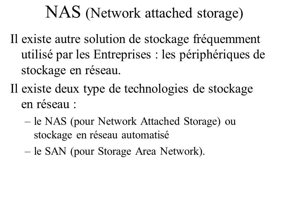 NAS (Network attached storage) Il existe autre solution de stockage fréquemment utilisé par les Entreprises : les périphériques de stockage en réseau.