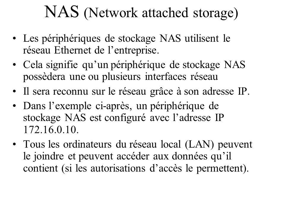 Les périphériques de stockage NAS utilisent le réseau Ethernet de l'entreprise. Cela signifie qu'un périphérique de stockage NAS possèdera une ou plus