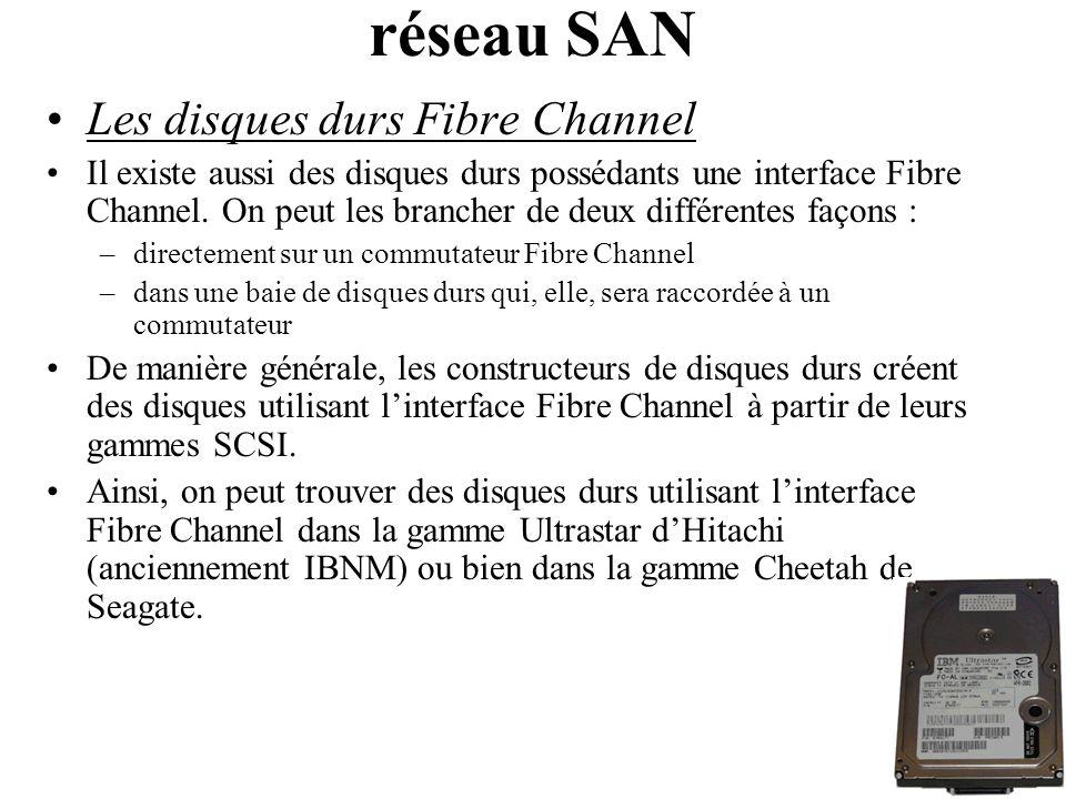 Les disques durs Fibre Channel Il existe aussi des disques durs possédants une interface Fibre Channel. On peut les brancher de deux différentes façon