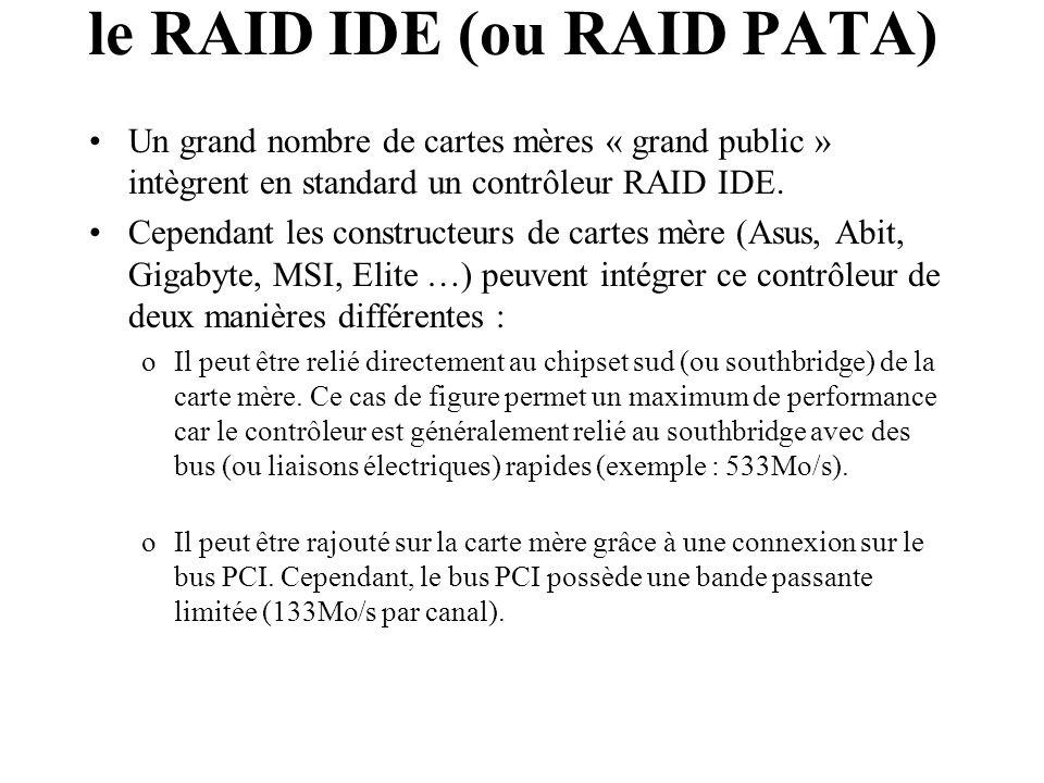 Un grand nombre de cartes mères « grand public » intègrent en standard un contrôleur RAID IDE. Cependant les constructeurs de cartes mère (Asus, Abit,