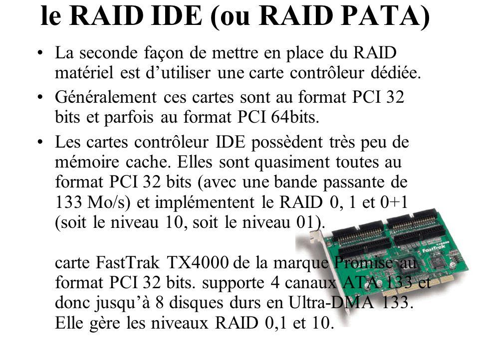La seconde façon de mettre en place du RAID matériel est d'utiliser une carte contrôleur dédiée. Généralement ces cartes sont au format PCI 32 bits et