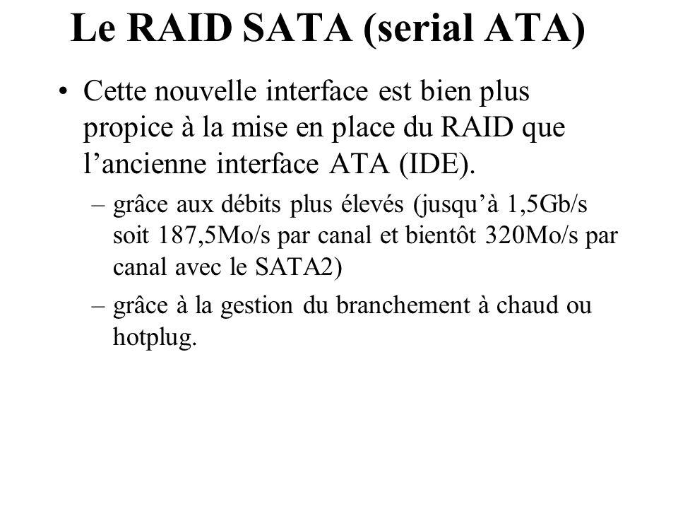 Le RAID SATA (serial ATA) Cette nouvelle interface est bien plus propice à la mise en place du RAID que l'ancienne interface ATA (IDE). –grâce aux déb