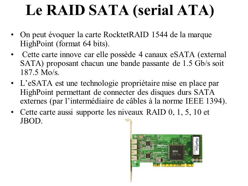 On peut évoquer la carte RocktetRAID 1544 de la marque HighPoint (format 64 bits). Cette carte innove car elle possède 4 canaux eSATA (external SATA)