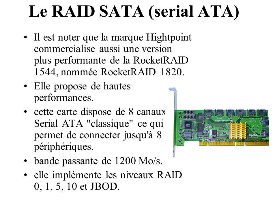 Il est noter que la marque Hightpoint commercialise aussi une version plus performante de la RocketRAID 1544, nommée RocketRAID 1820. Elle propose de