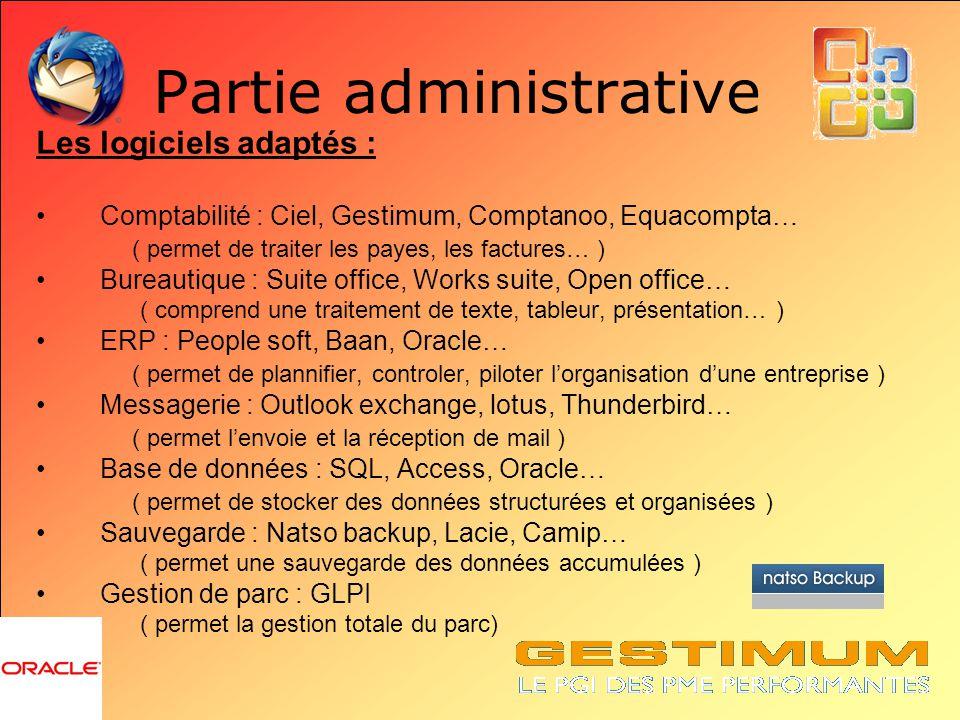Partie administrative Les logiciels adaptés : Comptabilité : Ciel, Gestimum, Comptanoo, Equacompta… ( permet de traiter les payes, les factures… ) Bur