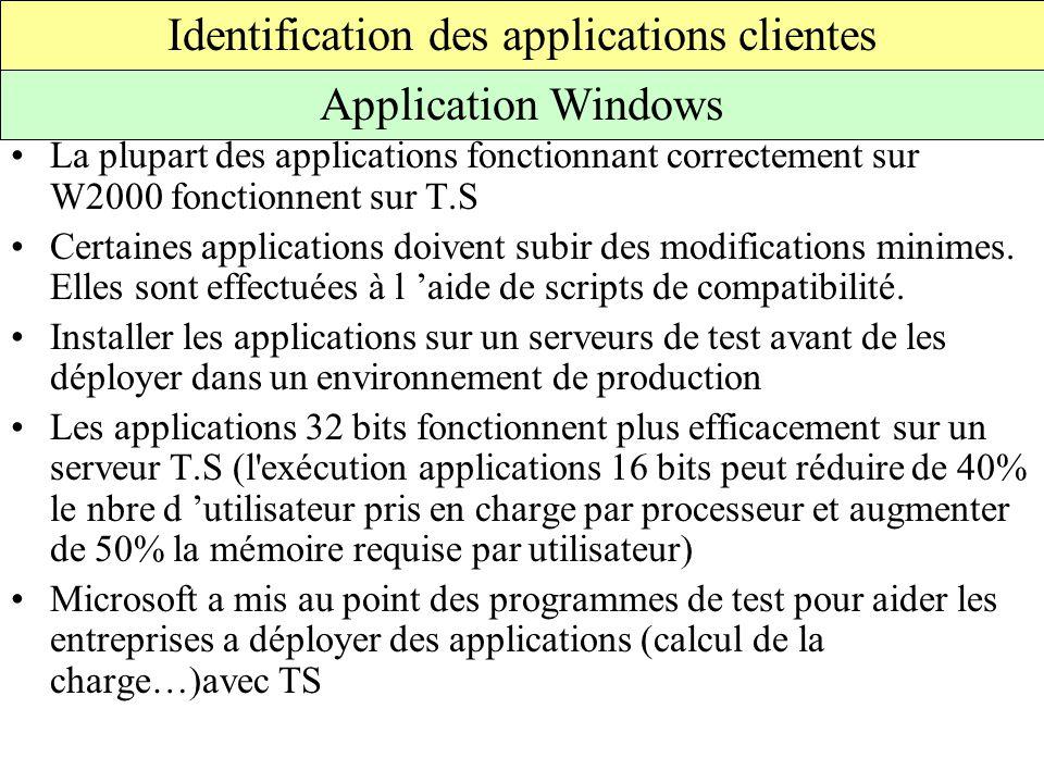 La plupart des applications fonctionnant correctement sur W2000 fonctionnent sur T.S Certaines applications doivent subir des modifications minimes.