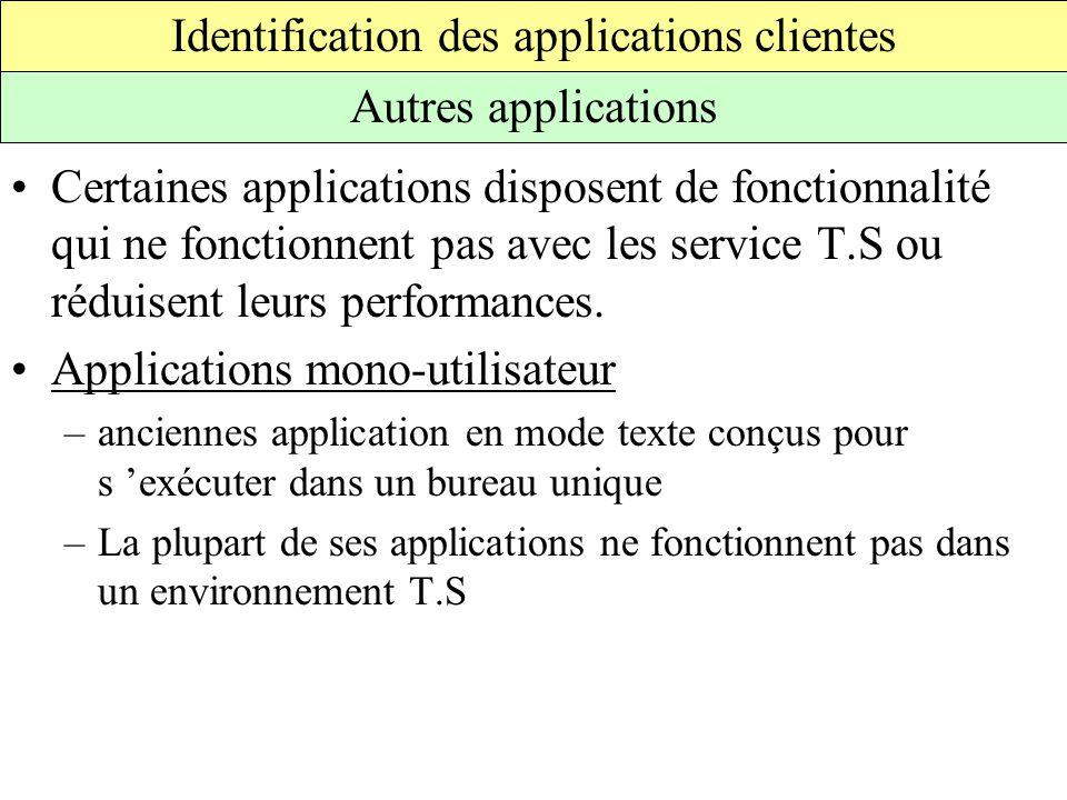 Certaines applications disposent de fonctionnalité qui ne fonctionnent pas avec les service T.S ou réduisent leurs performances.