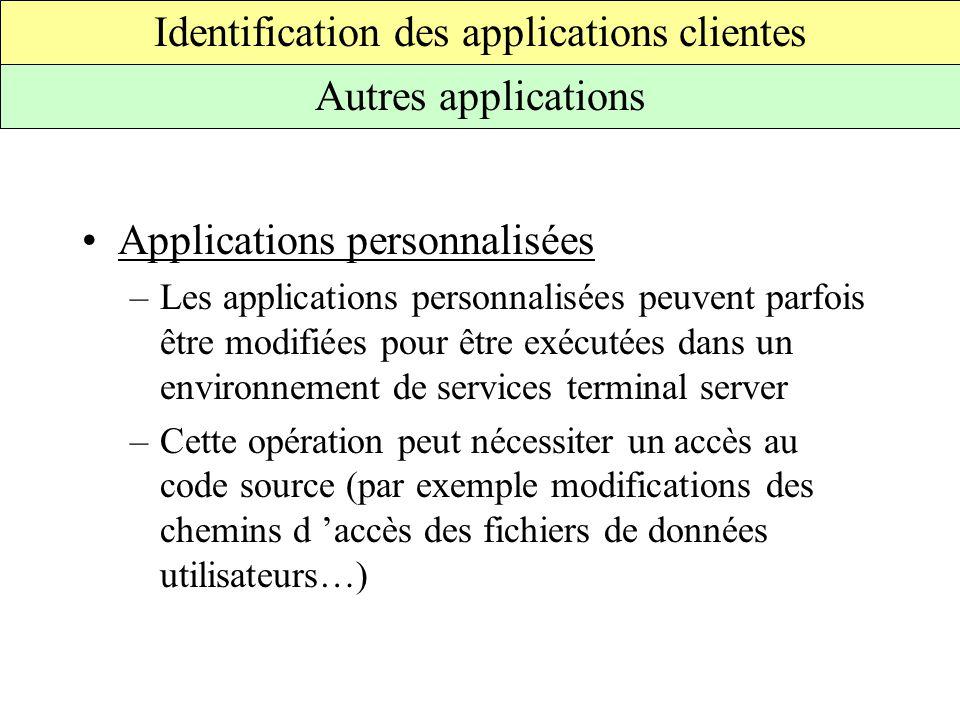 Applications personnalisées –Les applications personnalisées peuvent parfois être modifiées pour être exécutées dans un environnement de services terminal server –Cette opération peut nécessiter un accès au code source (par exemple modifications des chemins d 'accès des fichiers de données utilisateurs…) Identification des applications clientes Autres applications