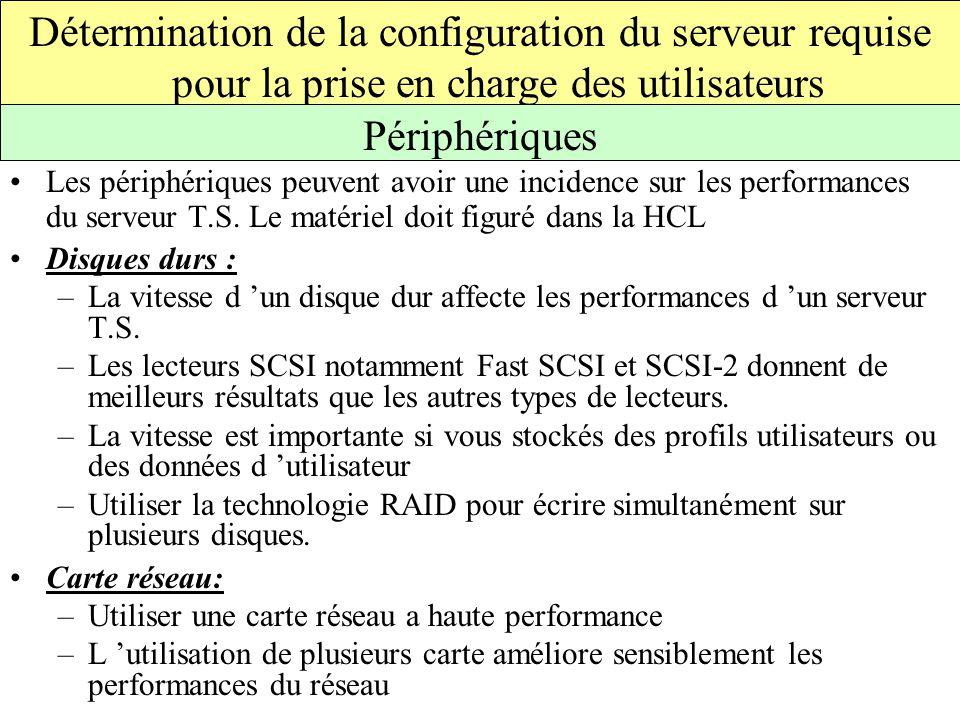 Les périphériques peuvent avoir une incidence sur les performances du serveur T.S.