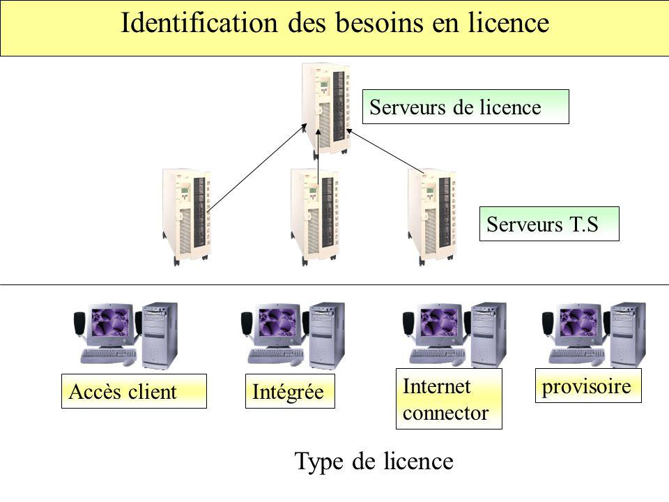 Identification des besoins en licence Serveurs T.S Serveurs de licence Accès clientIntégrée Internet connector provisoire Type de licence