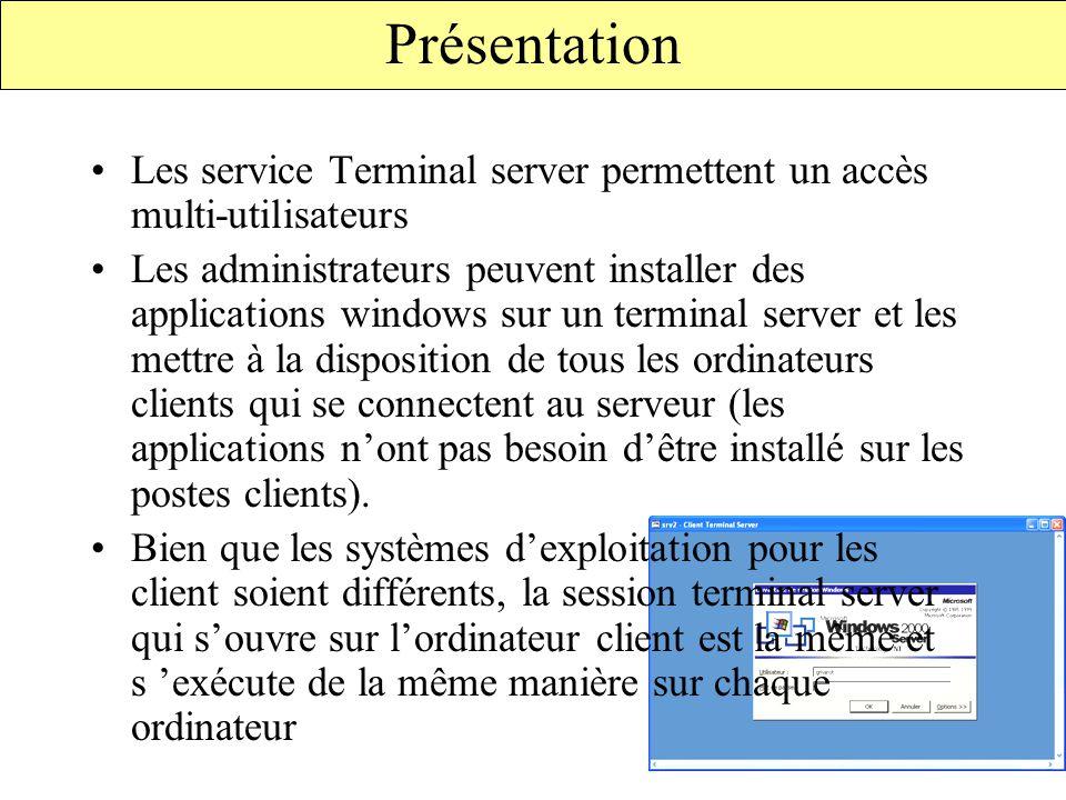 Fonctionnement Les services terminal server sont constitués de 3 éléments : –Un serveur terminal server –D'ordinateurs clients –Du protocoles RDP(Remote Desktop Protocol) Terminal server RDP - TCP/IP Ordinateur client