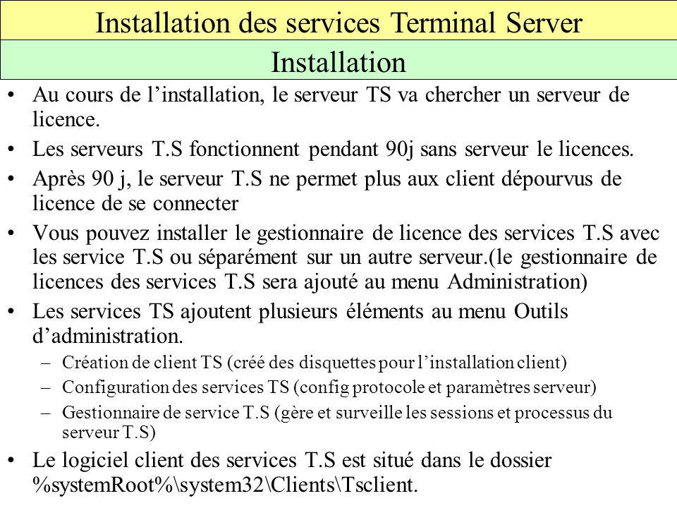Au cours de l'installation, le serveur TS va chercher un serveur de licence.