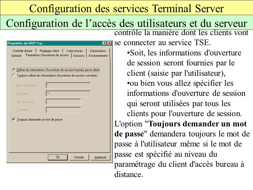 Configuration des services Terminal Server Configuration de l'accès des utilisateurs et du serveur contrôle la manière dont les clients vont se connecter au service TSE.