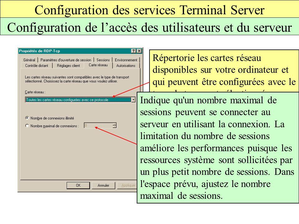 Configuration des services Terminal Server Configuration de l'accès des utilisateurs et du serveur Répertorie les cartes réseau disponibles sur votre ordinateur et qui peuvent être configurées avec le type de transport sélectionné.