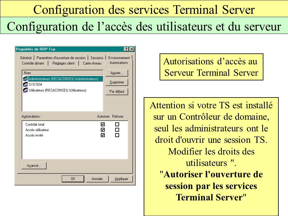Configuration des services Terminal Server Configuration de l'accès des utilisateurs et du serveur Autorisations d'accès au Serveur Terminal Server Attention si votre TS est installé sur un Contrôleur de domaine, seul les administrateurs ont le droit d ouvrir une session TS.