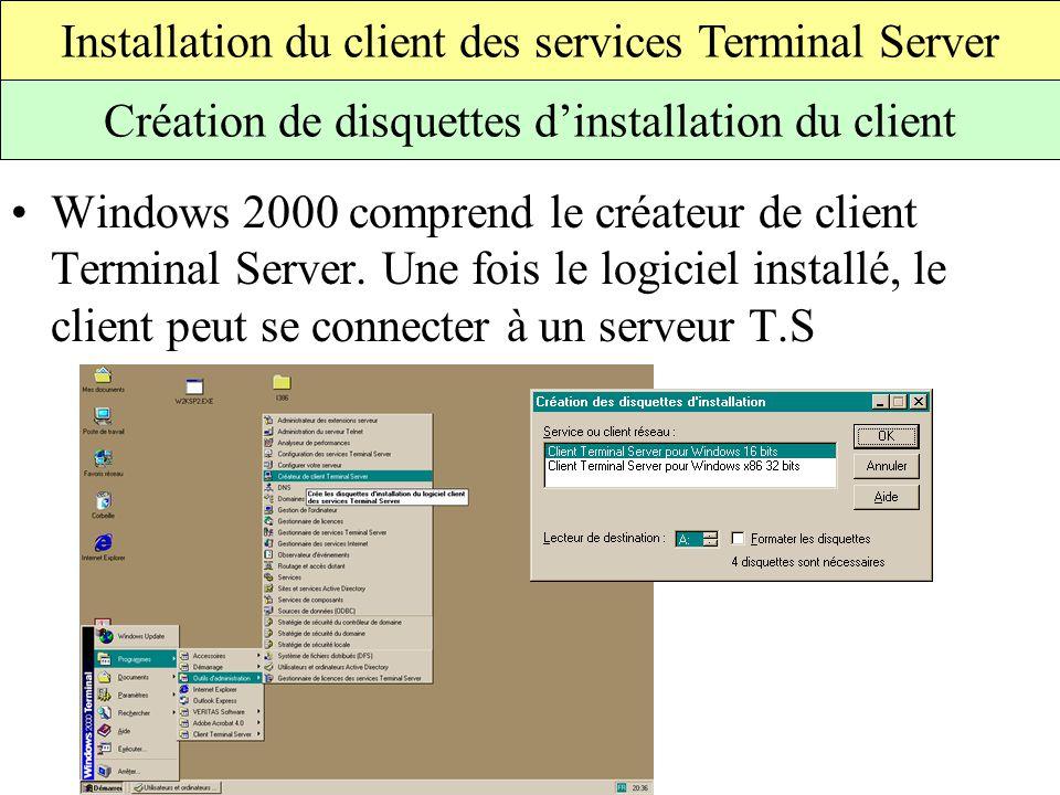 Windows 2000 comprend le créateur de client Terminal Server.