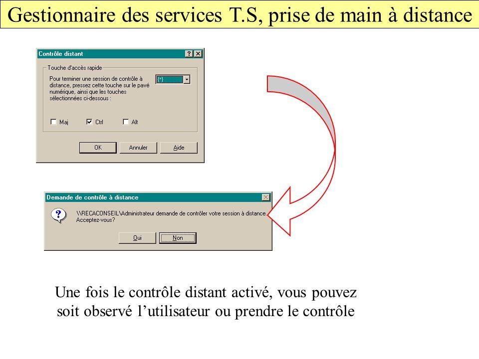 Gestionnaire des services T.S, prise de main à distance Une fois le contrôle distant activé, vous pouvez soit observé l'utilisateur ou prendre le contrôle
