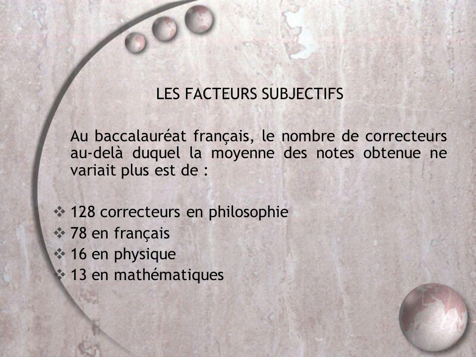 LES FACTEURS SUBJECTIFS Au baccalauréat français, le nombre de correcteurs au-delà duquel la moyenne des notes obtenue ne variait plus est de :  128 correcteurs en philosophie  78 en français  16 en physique  13 en mathématiques