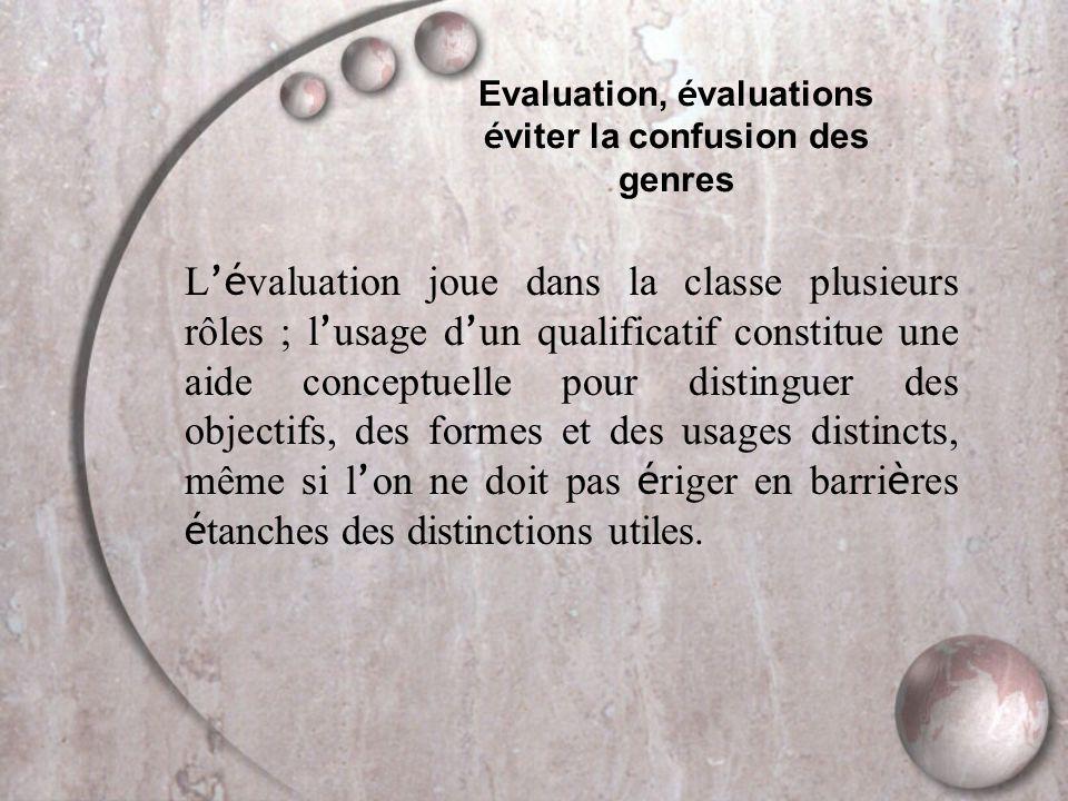 Evaluation, é valuations é viter la confusion des genres L 'é valuation joue dans la classe plusieurs rôles ; l ' usage d ' un qualificatif constitue