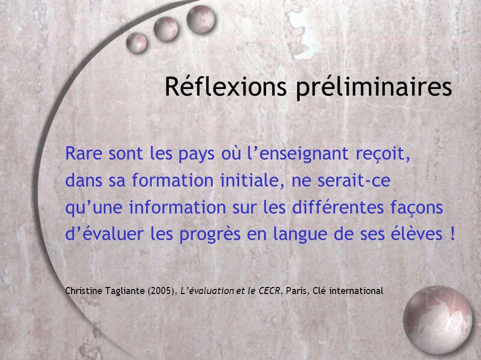 Réflexions préliminaires Rare sont les pays où l'enseignant reçoit, dans sa formation initiale, ne serait-ce qu'une information sur les différentes façons d'évaluer les progrès en langue de ses élèves .